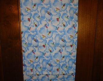 "Airplaines and Clouds Flannel Reversible Table Dresser Runner Size 16 3/4""W x 37 1/4""L"
