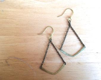 Brass Chevron Earrings