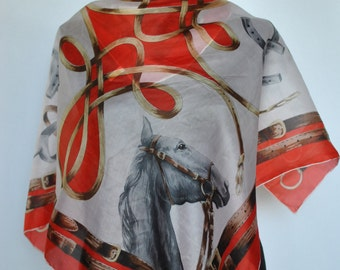 Vintage PRINTED SILK SCARF with equestrian pattern, hand rolled silk scarf .....(214)
