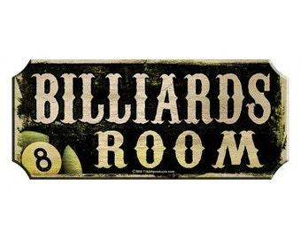 Billiards Rooms Wood Plaque Sign