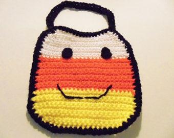 Crochet Candy Corn Baby Bib, Candy Corn Bib, Halloween Bibs, Baby Bibs, Baby Accessories