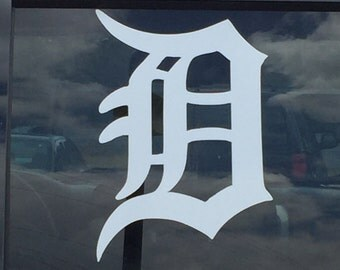 Detroit D vinyl window decal Detroit Tigers D vehicle decal sticker old english D choose your color