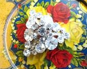 Gorgeous Rhinestone Triangle Brooch Pin- Large Vintage Rhinestone Brooch- Art Deco Sweater/ Scarf/ Coat Brooch- Rhinestone Cluster- Wedding