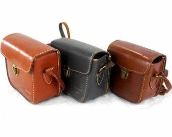 Lot of 3 original vintage Keystone movie camera leather bags