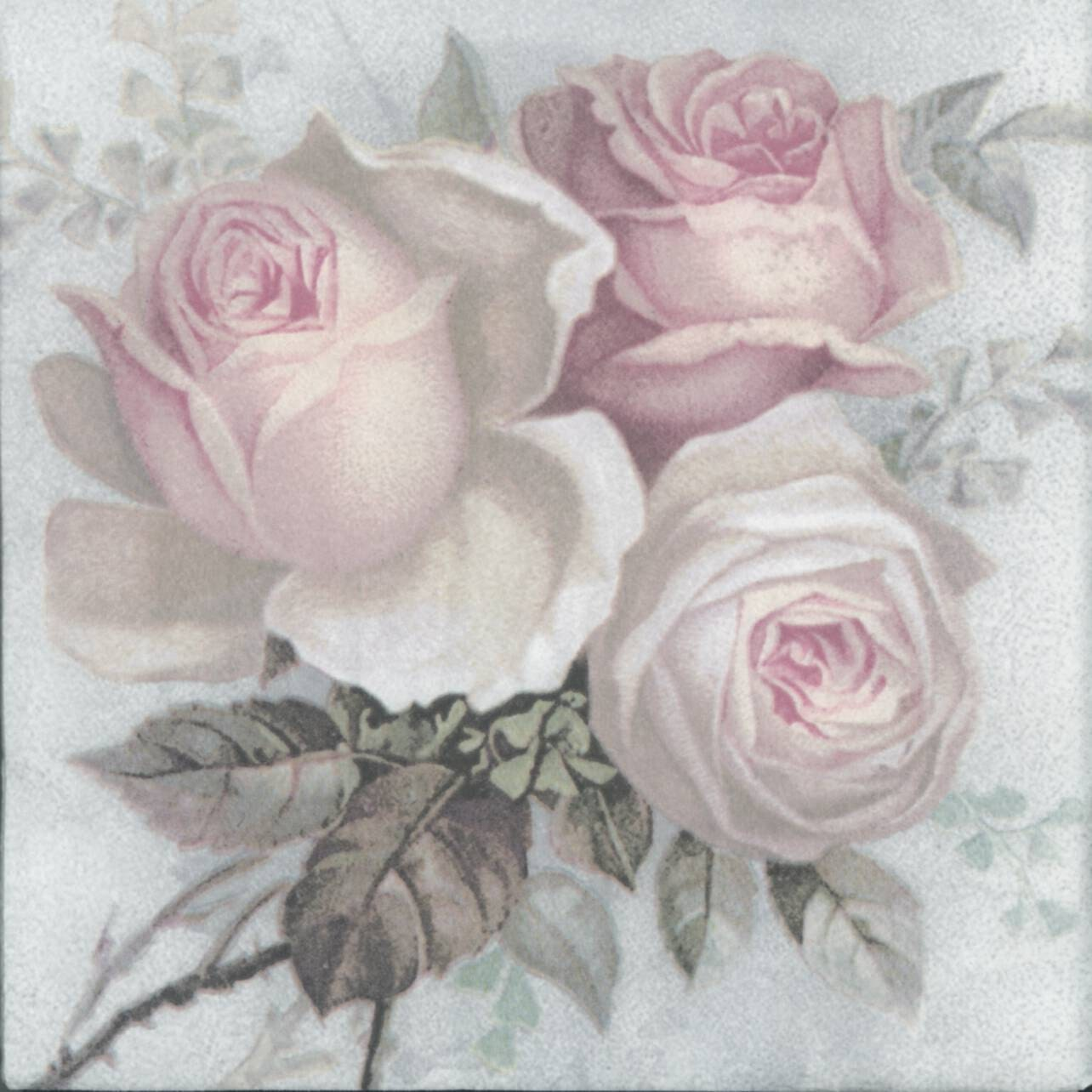 4 decoupage napkins large pastel rose bouquet rose napkins