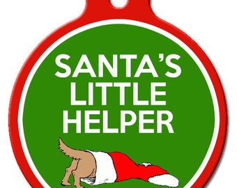 Santa's Little Helper Dog ID Tag
