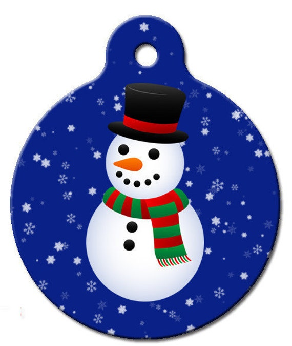 Snowman Blue Pet ID Tag by WagATudeTags on Etsy