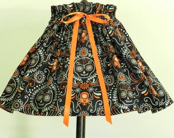 Halloween Decoration Day of the Dead Decor Skulls and spiders Lamp Shade Cover Black and orange decor. Fits over an existing lamp shade.