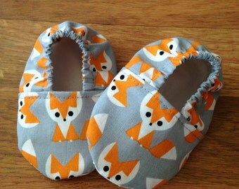 Baby Booties with Fox Print