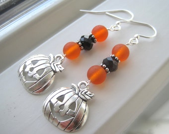 Pumpkin Earrings - Halloween Jewelry - Pumpkin Jewelry - Halloween Earrings - Fall Earrings -  Orange Jewelry - Pumpkin Wedding