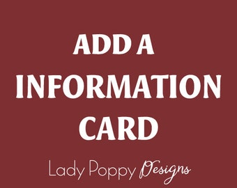 Add an Information card - DIY, PDF files - Matching Printable Cards - Add-on to your printable set