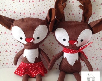 Rudolph Reindeer Doll Christmas Softie Pillow Plush Stuffed Toy