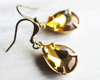50% off SALE Earrings, golden yellow pear crystal earrings.