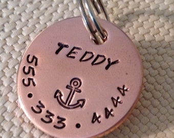 dog tag, pet id tag, nautical pet tag, copper id tag, id tags for dogs, pet tags, custom dog tag, anchor pet tag, beach dog tag, custom tag