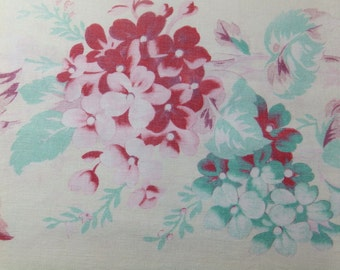 Vintage French floral fabric - TS20 duck egg blue, pink