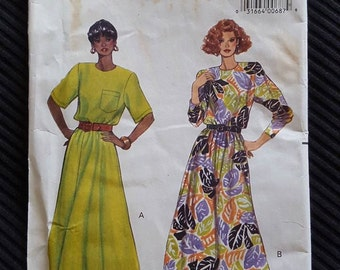 Vintage 1990 Misses Pullover Dress Pattern Butterick 4908 Size 6 8 10 Fast and Easy NEW UNCUT