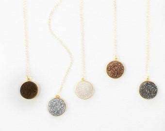 Rose Gold, White, Charcoal, Silver, Bronze Druzy Necklace, Druzy Quartz Necklace, Druzy Quartz Jewelry, Gemstone Necklace, Bezel Setting