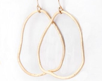 Gold Organic Hoop Earrings - Freeform Textured Gold Hoops - Gold Earrings