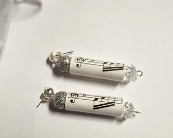 Music Sheet Paper Chandelier Earrings