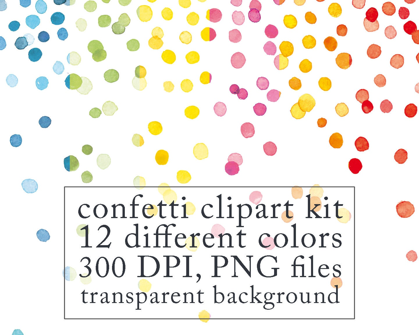 Watercolor confetti clipart digital clip art by swiejkoforprint