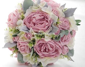 Large Artificial Blush Pink & Ivory Bridal Bouquet - No Grey Foliage - See description