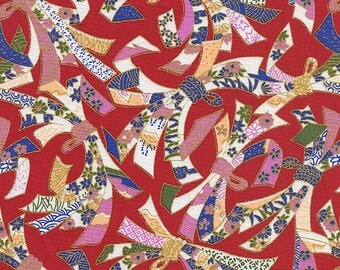 """NOSHI """"Good Luck"""" Ribbons: Red/Gold Metallic Asian Fabric (By The Half Yard)"""