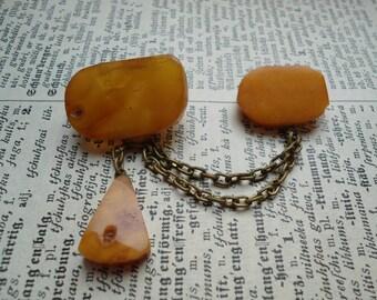 Butterscotch big Baltic amber pin brooch, Vintage amber brooch, old natural egg yolk Baltic amber brooch