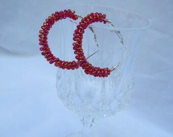 Red Hoop Earrings, Glass Seed Bead Earrings, Silver Hoop Earrings, Wire Wrap Earrings