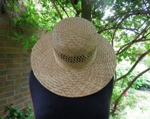 Vintage Straw Hat Ribbon Trim Made in England Ladies Sun Hat Retro 1970s Music Festival Wear BOHO Hippy
