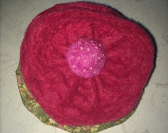 Hand Felted Pink Flower Brooch with glass beads
