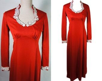 Vintage Maxi dress. Jane Austen, romantic style. Empire, floor length. Clay, cinnamon, rusted color.