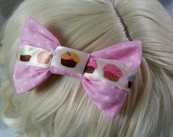 Kawaii Cupcake Pink Polka-dot Hairbow