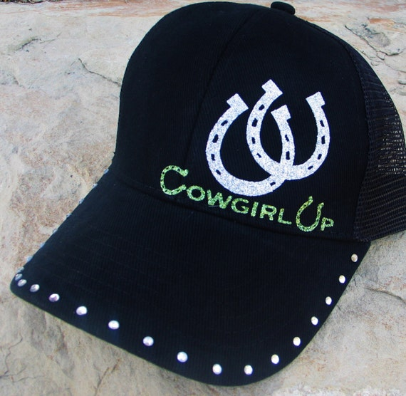 Cowgirl Up Black Trucker Cap