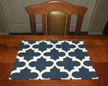Navy Placemats - Navy Pet Place Mats - Dog Place Mat - Dog Food Place Mat - Pet Place Mats - Cat Place Mats - Fabric Place Ma
