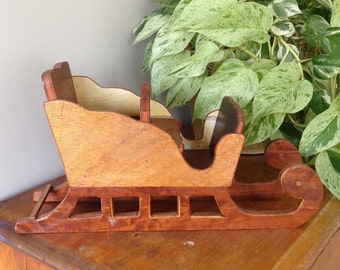 Handmade wooden sleigh for tabletop