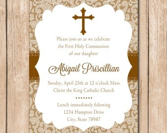 Girl First Communion Invitation   Baptism - 1.00 each printed or 10.00 DIY file