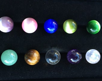 10 pack of Cats Eye Stones and Solid 10mm Marble