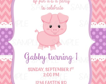 Printable Little Piggy Birthday Party Invitation plus FREE blank matching printable thank you card