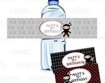 Printable Ninja Birthday Water Bottle Labels
