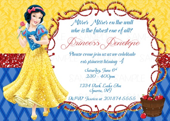 Candid image regarding snow white invitations printable