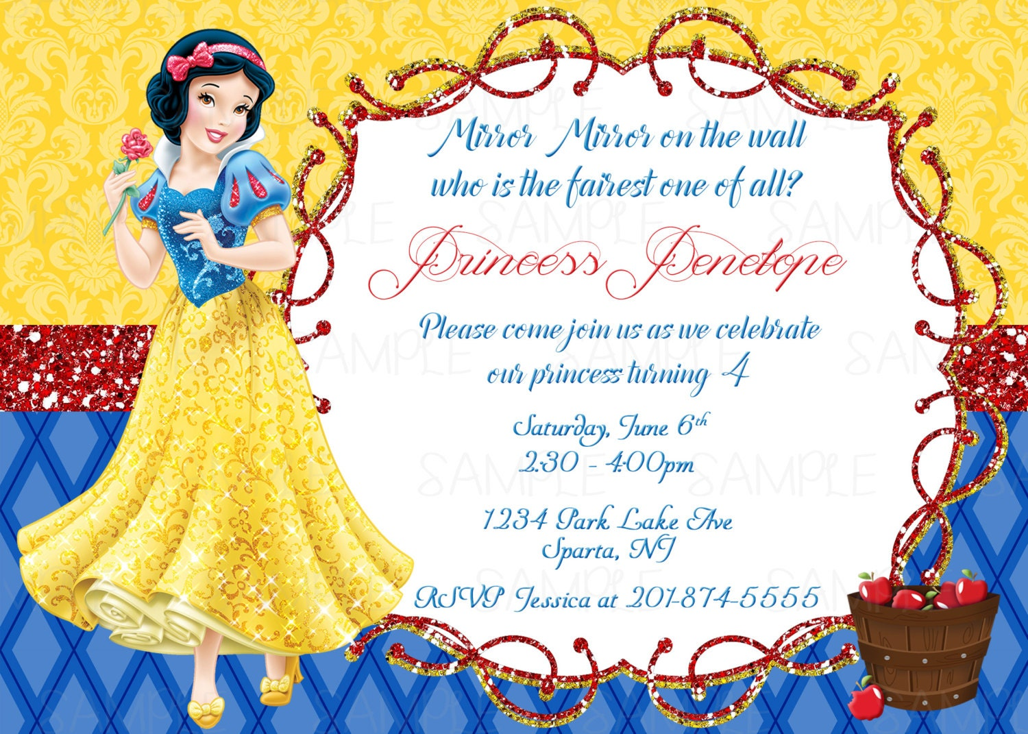 Snow White Printable Birthday Party Invitation Plus Free Blank