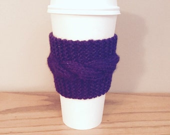 handmade cable knit coffee cozy (in dark purple)