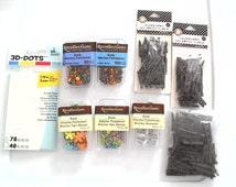 Craft Destash, Flower Brads, White Button Brads, Circle Brads, 3D Dots Double Sided Adhesive Circles, Dark Brown Clothespins for Crafts