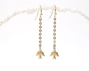 Gold Bird Earrings. Tiny Bird Earrings. Messenger Earrings