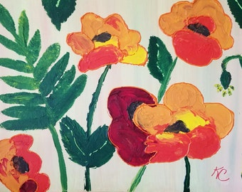 """Acrylic Painting """"Poppies"""" on 16x20 Canvas, ready to hang"""