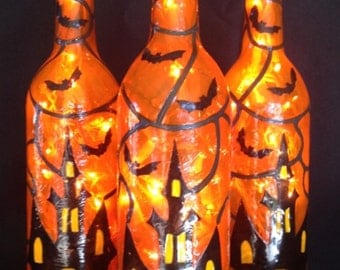 Haunted House Halloween Wine Bottle of Lights