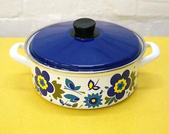 Vintage floral patterned enamel pan
