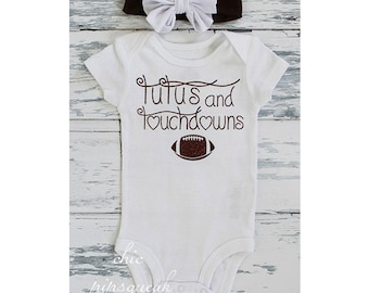 Baby Football Outfit, Baby Football, Tutu and Touchdowns, Baby Football Outfit,  Baby, College Football Baby Girl, Baby Girl. Football