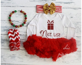 Christmas Outfit, Baby Christmas Outfit, Baby Holiday Outfit, Nice List, Toddler Holiday Outfit, Toddler Christmas Outfit, Santa Baby, Baby