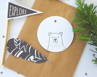 Hipster Bear Gift Tags